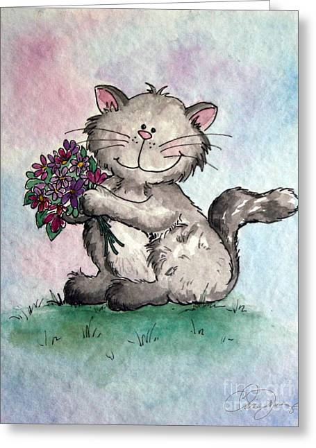 Dani Jennings Art Greeting Cards - Chubby Kitty with Flowers Greeting Card by Danise Abbott