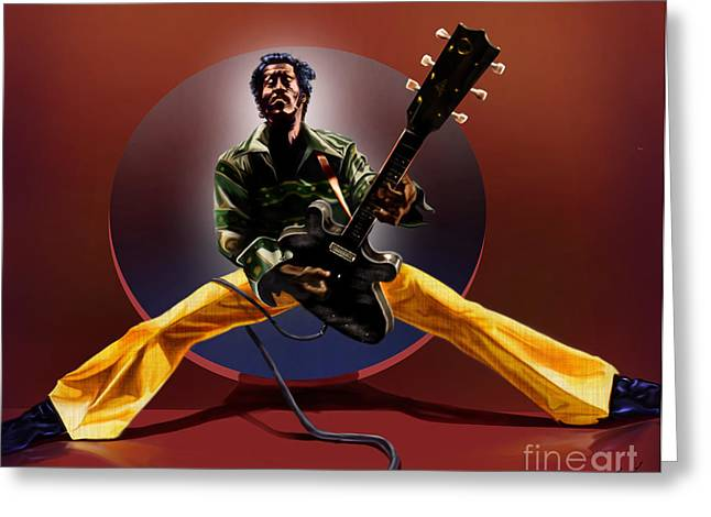 Super Stars Greeting Cards - Chuck Berry - This Is How we Do It Greeting Card by Reggie Duffie