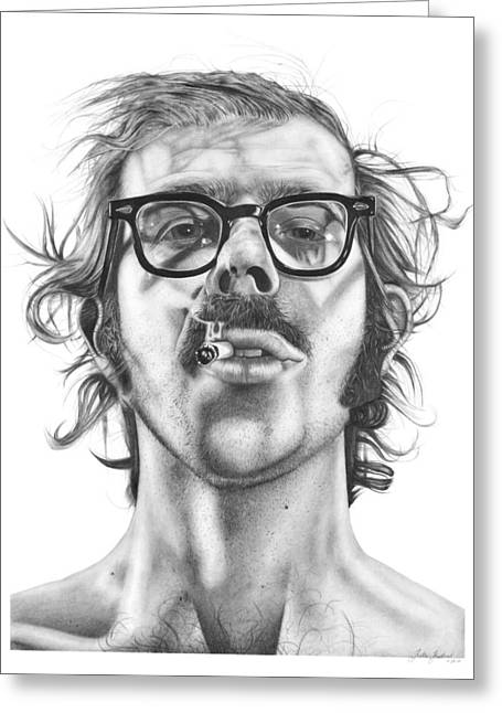 Charcoal Portrait Greeting Cards - Chuck Close Greeting Card by Kalie Hoodhood