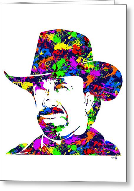 Etc. Digital Art Greeting Cards - Chuck Norris Paint Splatter Greeting Card by Gregory Murray