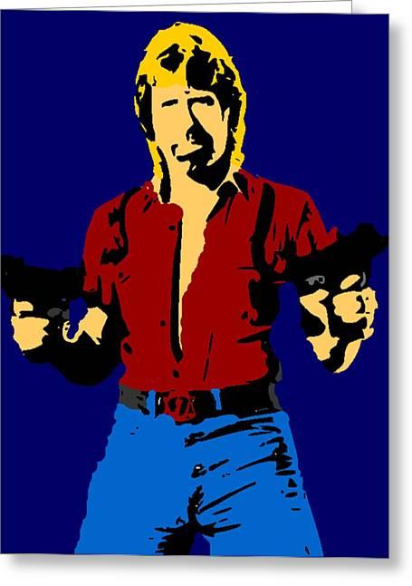 Joke Drawings Greeting Cards - Chuck Norris Pop Greeting Card by Paul Van Scott