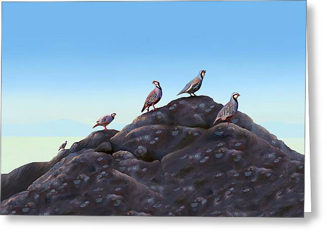 Chuckers - Calling in the Flock Greeting Card by Laird Roberts