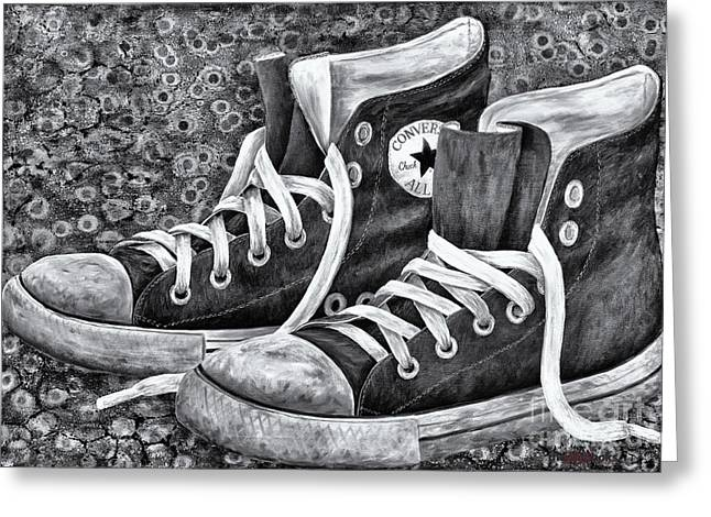 High Top Tennis Shoes Greeting Cards - Chucks Greeting Card by Deb Mitchell