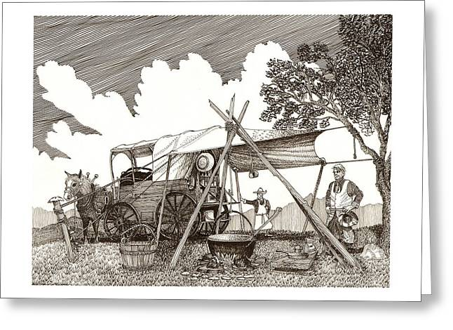 The Bean Greeting Cards - Chuckwagon Cattle Drive breakfast Greeting Card by Jack Pumphrey