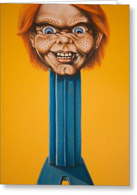 Movie Art Pastels Greeting Cards - Chucky Greeting Card by Brent Andrew Doty