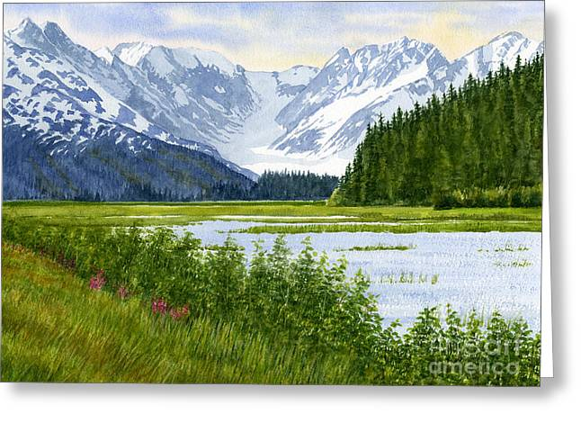 National Paintings Greeting Cards - Chugach Glacier View Greeting Card by Sharon Freeman