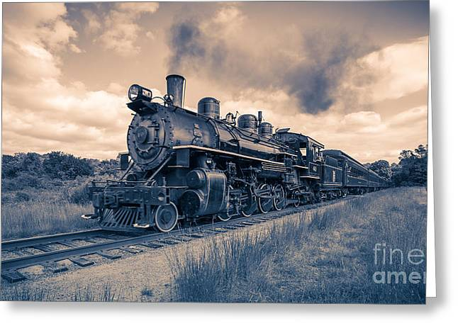 Deep River Greeting Cards - Full Steam through The Meadow Greeting Card by Edward Fielding