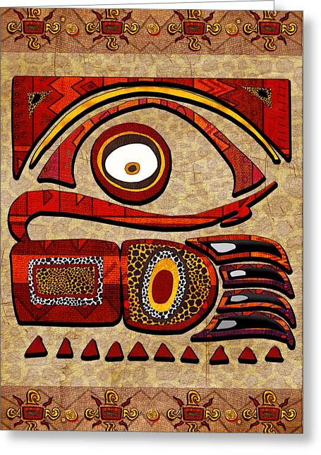 Congo Decor Greeting Cards - Chui Mtu African Folk Art Greeting Card by Sharon and Renee Lozen