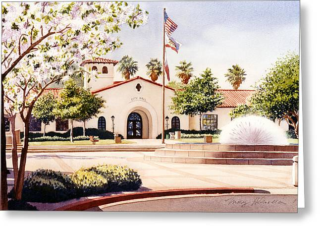 City Hall Greeting Cards - Chula Vista City Hall Greeting Card by Mary Helmreich