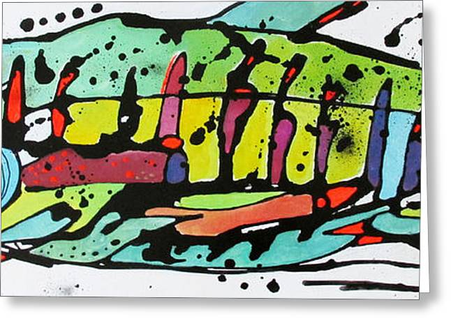 Salmon Paintings Greeting Cards - Chum Greeting Card by Nicole Gaitan