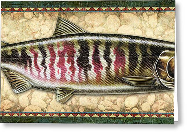 Salmon Paintings Greeting Cards - Chum Salmon Spawning Panel Greeting Card by JQ Licensing