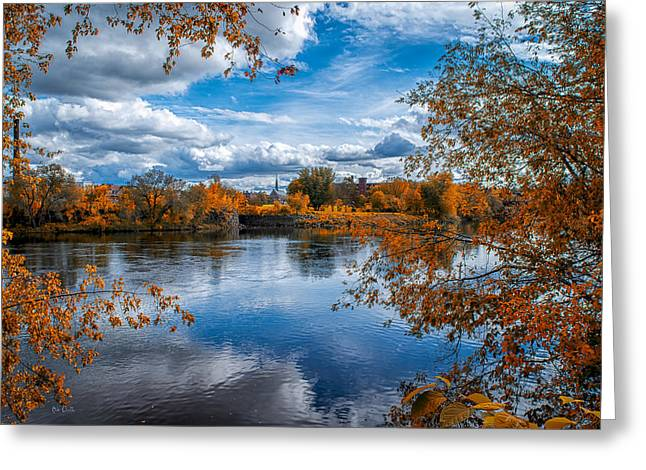 Androscoggin Greeting Cards - Church Across The River Greeting Card by Bob Orsillo