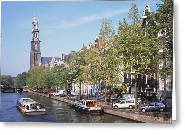 Boats In Water Greeting Cards - Church Along A Channel In Amsterdam Greeting Card by Panoramic Images