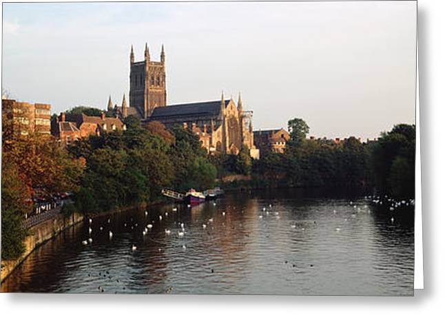 Worcester Greeting Cards - Church Along A River, Worcester Greeting Card by Panoramic Images