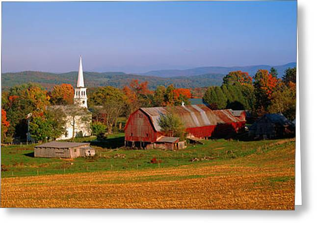 Colors Of Autumn Greeting Cards - Church And A Barn In A Field, Peacham Greeting Card by Panoramic Images
