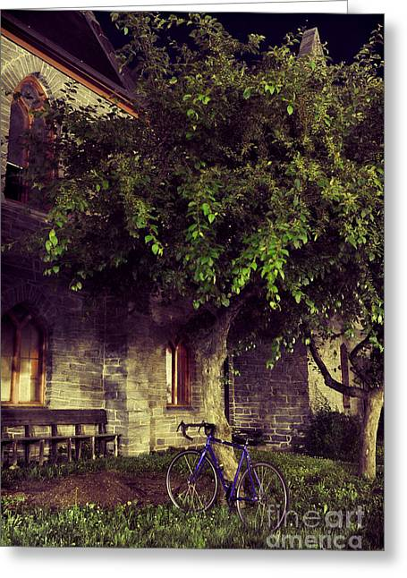 Blue Bike Greeting Cards - Church And Blue Bike Greeting Card by HD Connelly