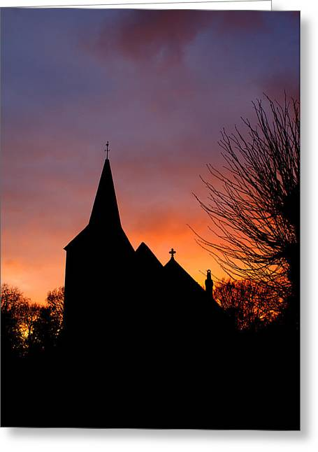 Jesus Christ Icon Greeting Cards - Church And Graveyard At Dusk Greeting Card by Fizzy Image