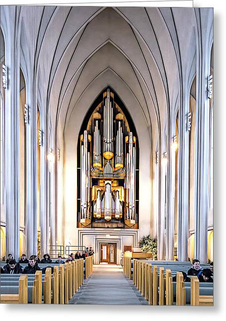Manual Greeting Cards - Church and Organ Greeting Card by Maria Coulson
