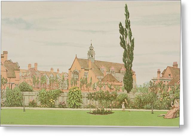 Garden Drawings Greeting Cards - Church And Parsonage, Bedford Park, 1881 Greeting Card by Frederick Hamilton Jackson