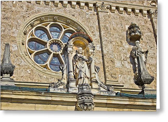 Bistrica Greeting Cards - Church architectural detail - window and saint statue Greeting Card by Dalibor Brlek