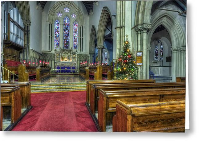 Tinsel Greeting Cards - Church at Christmas v3 Greeting Card by Ian Mitchell