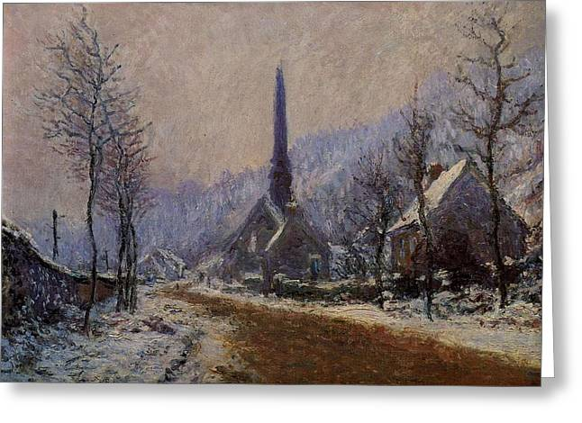 Country Dirt Roads Mixed Media Greeting Cards - Church At Jeufosse Snowy Weather 1893 Restored Greeting Card by Claude Monet - L Brown
