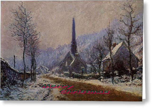 Snowy Roads Mixed Media Greeting Cards - Church At Jeufosse Snowy Weather Restored Merry Christmas Greeting Card by Claude Monet - L Brown