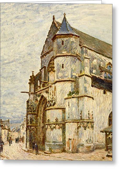 France Doors Paintings Greeting Cards - Church at Moret after the Rain Greeting Card by Alfred Sisley