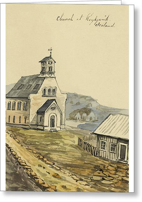 Norse Greeting Cards - Church at Rejkjavik Iceland 1862 Greeting Card by Aged Pixel