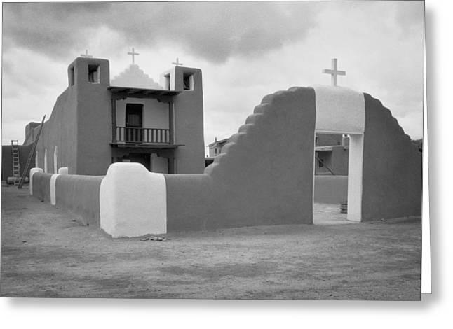 Church At Taos Pueblo Greeting Card by David and Carol Kelly