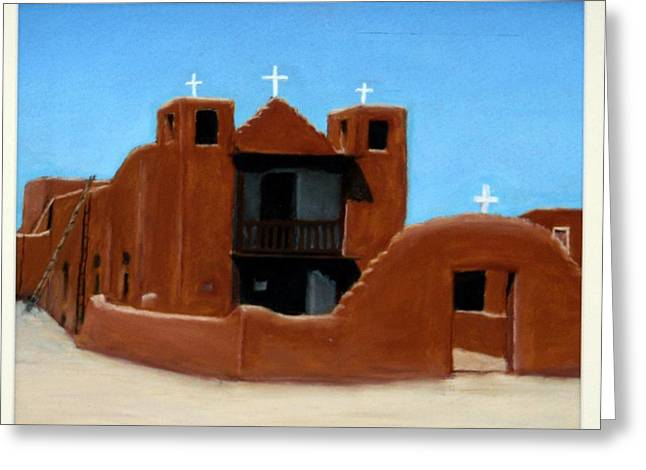 Taos Pastels Greeting Cards - Church at Taos Pueblo Greeting Card by David Henderson