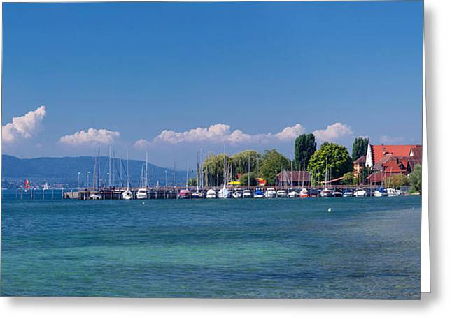 Sailboat Images Greeting Cards - Church At The Lakeside, Sipplingen Greeting Card by Panoramic Images
