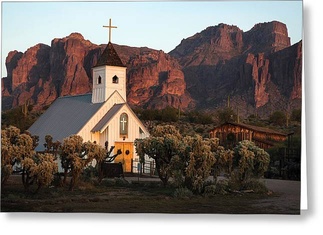 White Church Greeting Cards - Church at the Superstition Mountains Arizona Greeting Card by Dave Dilli