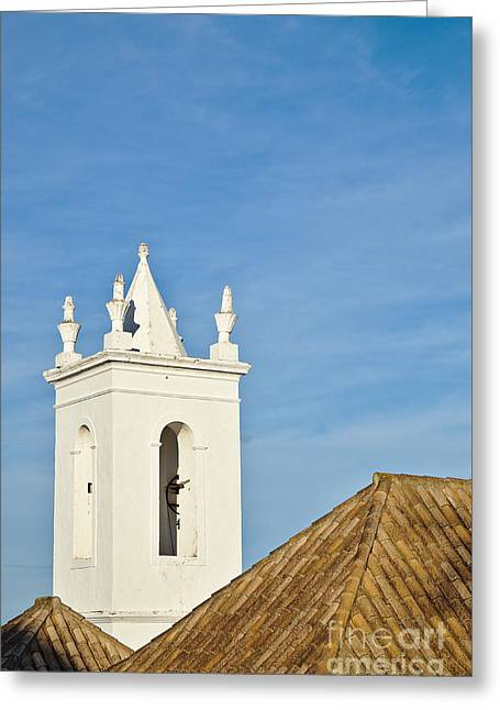 Historic Home Greeting Cards - Church bell tower behind tiled roofs in Tavira Greeting Card by Angelo DeVal