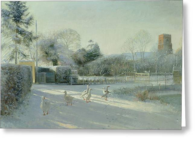 Suffolk Greeting Cards - Church Boundary, Bedfield Oil On Canvas Greeting Card by Timothy Easton