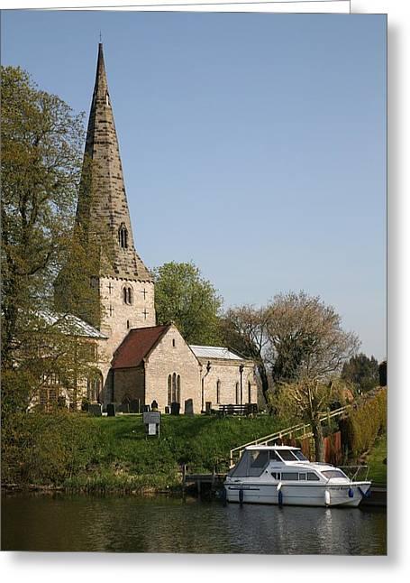 Mark Severn Greeting Cards - Church By The River Greeting Card by Mark Severn