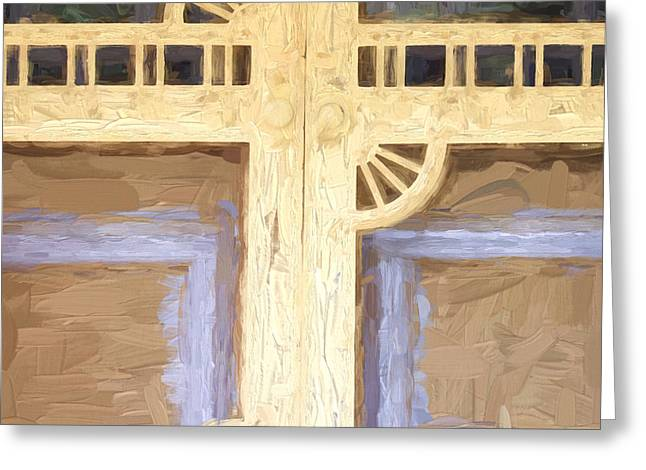 Screen Door Greeting Cards - Church Camp House Detail Painterly Series 10 Greeting Card by Carol Leigh