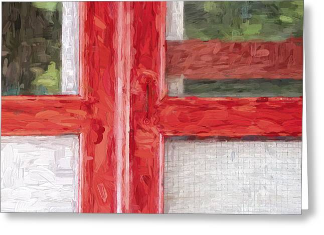 Screen Door Greeting Cards - Church Camp House Detail Painterly Series 11 Greeting Card by Carol Leigh
