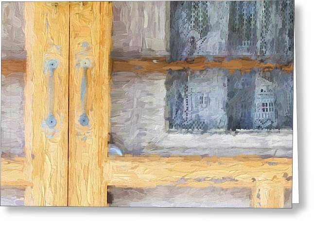 Curtain Greeting Cards - Church Camp House Detail Painterly Series 14 Greeting Card by Carol Leigh