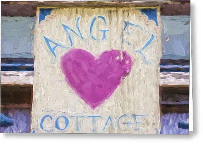 Pink Heart Greeting Cards - Church Camp House Detail Painterly Series 3 Greeting Card by Carol Leigh
