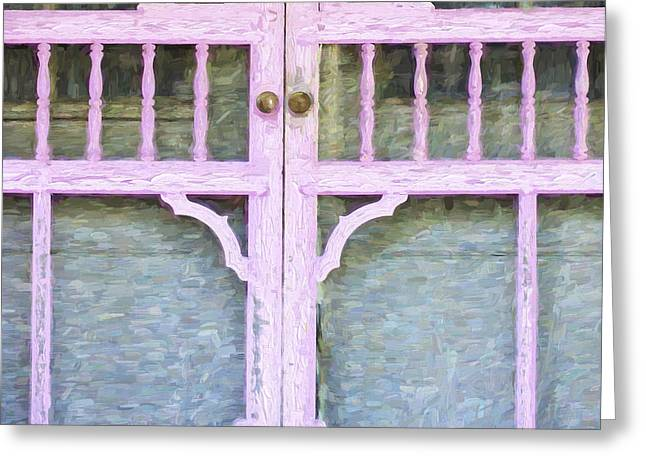 Screen Door Greeting Cards - Church Camp House Detail Painterly Series 9 Greeting Card by Carol Leigh
