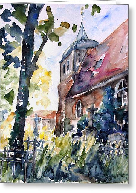 Geschichte Greeting Cards - Church Cemetery In Buchholz Greeting Card by Barbara Pommerenke