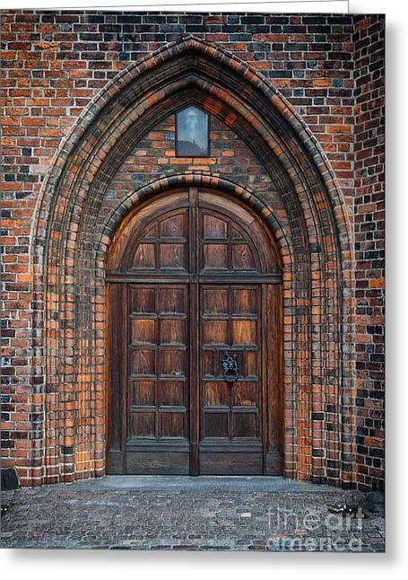 Medieval Temple Greeting Cards - Church Door Greeting Card by Antony McAulay