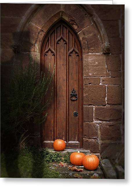 Tricks Greeting Cards - Church Door At Halloween Greeting Card by Amanda And Christopher Elwell