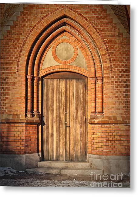 Medieval Temple Greeting Cards - Church Door Helsingborg Greeting Card by Antony McAulay