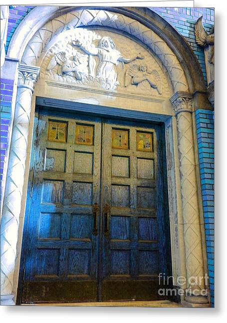 Church Door II Greeting Card by Becky Lupe