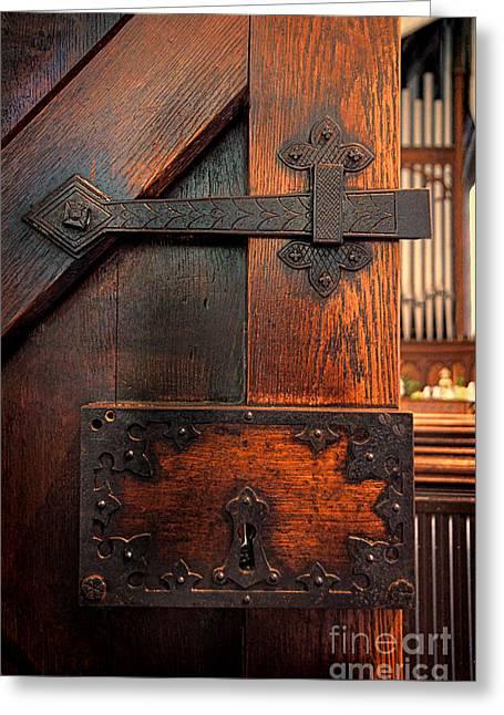 Medieval Entrance Greeting Cards - Church Door Greeting Card by Jill Battaglia