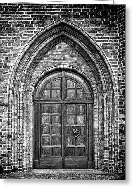 Medieval Temple Greeting Cards - Church Door Monochromatic Greeting Card by Antony McAulay