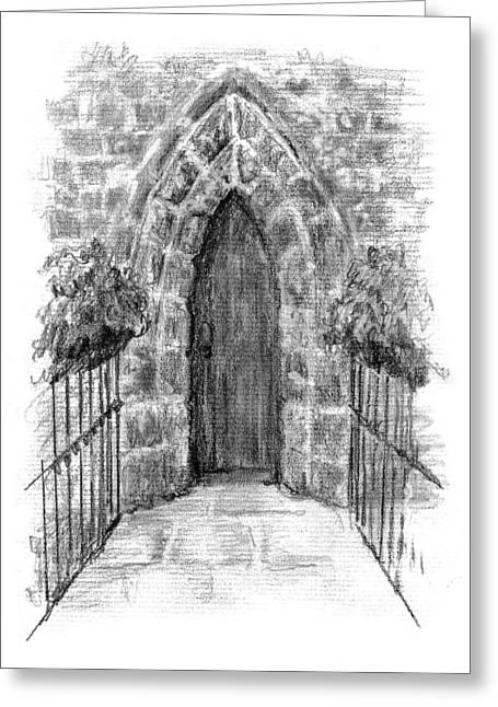 Residential Drawings Greeting Cards - Church Door Greeting Card by Sarah Parks