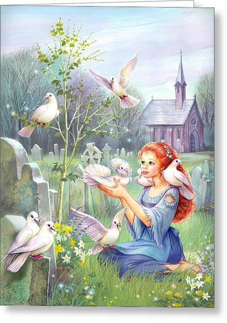Cinderella Greeting Cards - Church Doves Greeting Card by Zorina Baldescu